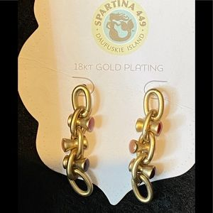 Spartina 18K Gold Plated link drop Earrings